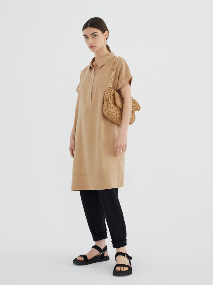 Lyocell Shirt Dress, Beige, hi-res