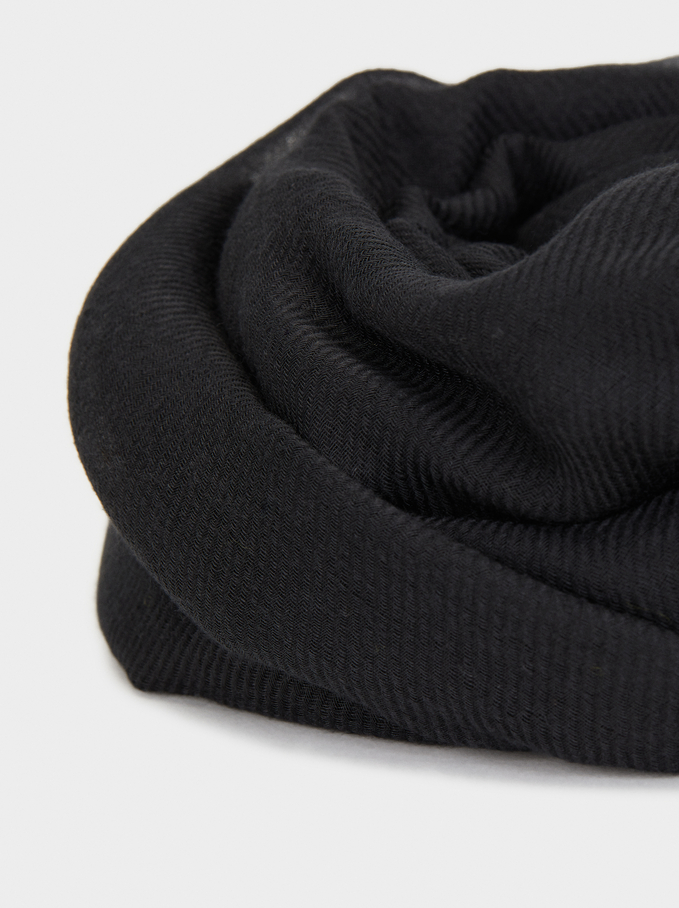 African Faces Total Look Basic Scarf, Black, hi-res