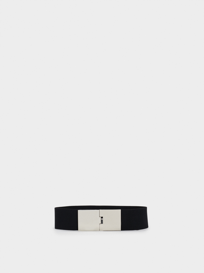 Stretch Belt With Silver-Plated Buckle, Black, hi-res