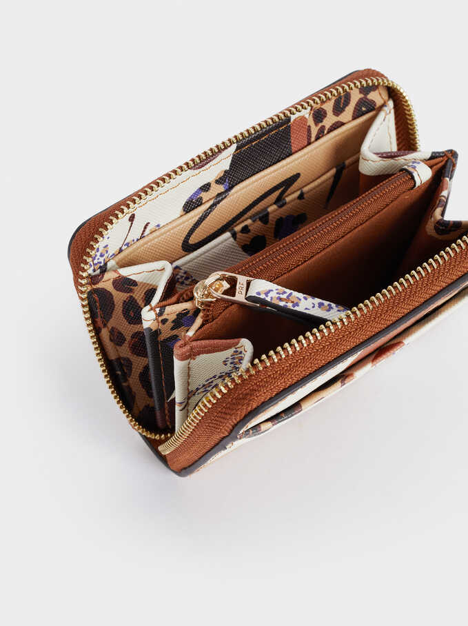 Cartera Compacta Estampada, Crudo, hi-res