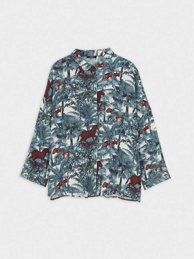 Camisa Oversize Estampada, Crudo, hi-res