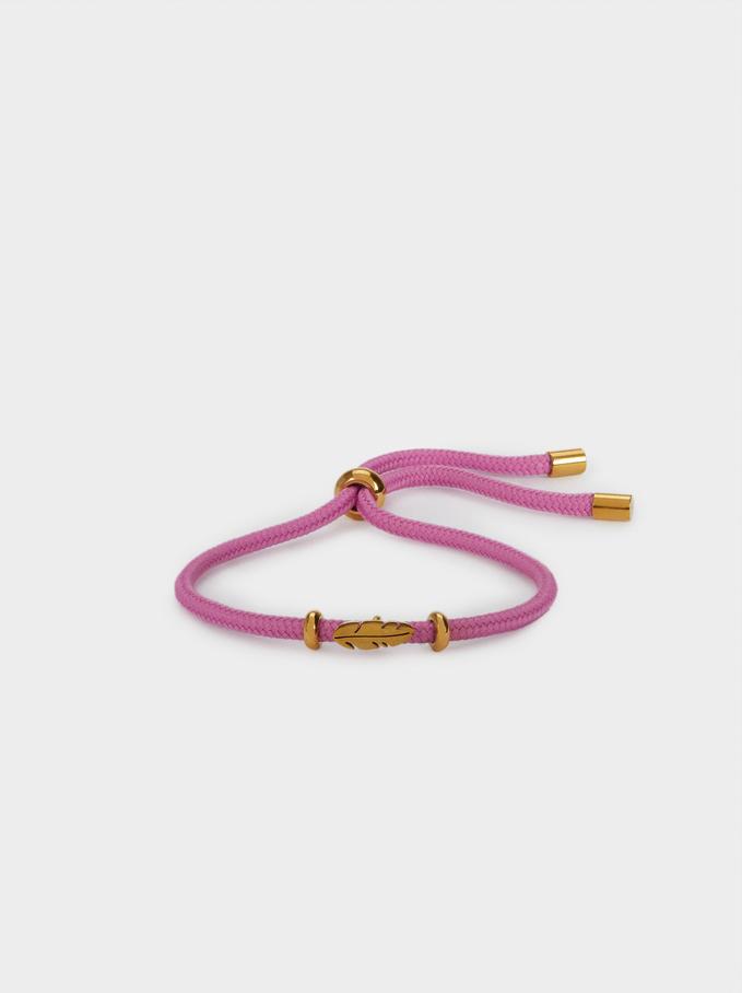 Stainless Steel Adjustable Bracelet With Leaf, Violet, hi-res