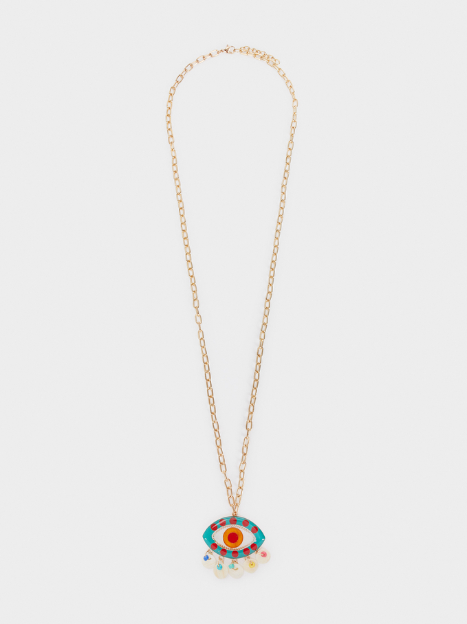 Heart Beads Long Necklace With Eye Pendant, Multicolor, hi-res