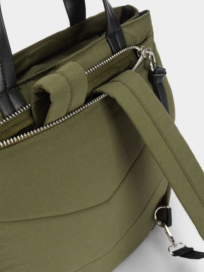 Nylon Backpack Made From Recycled Materials, Khaki, hi-res