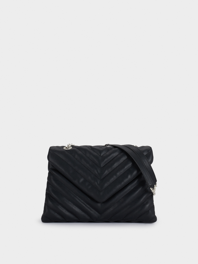 Quilted Crossbody Bag, Black, hi-res