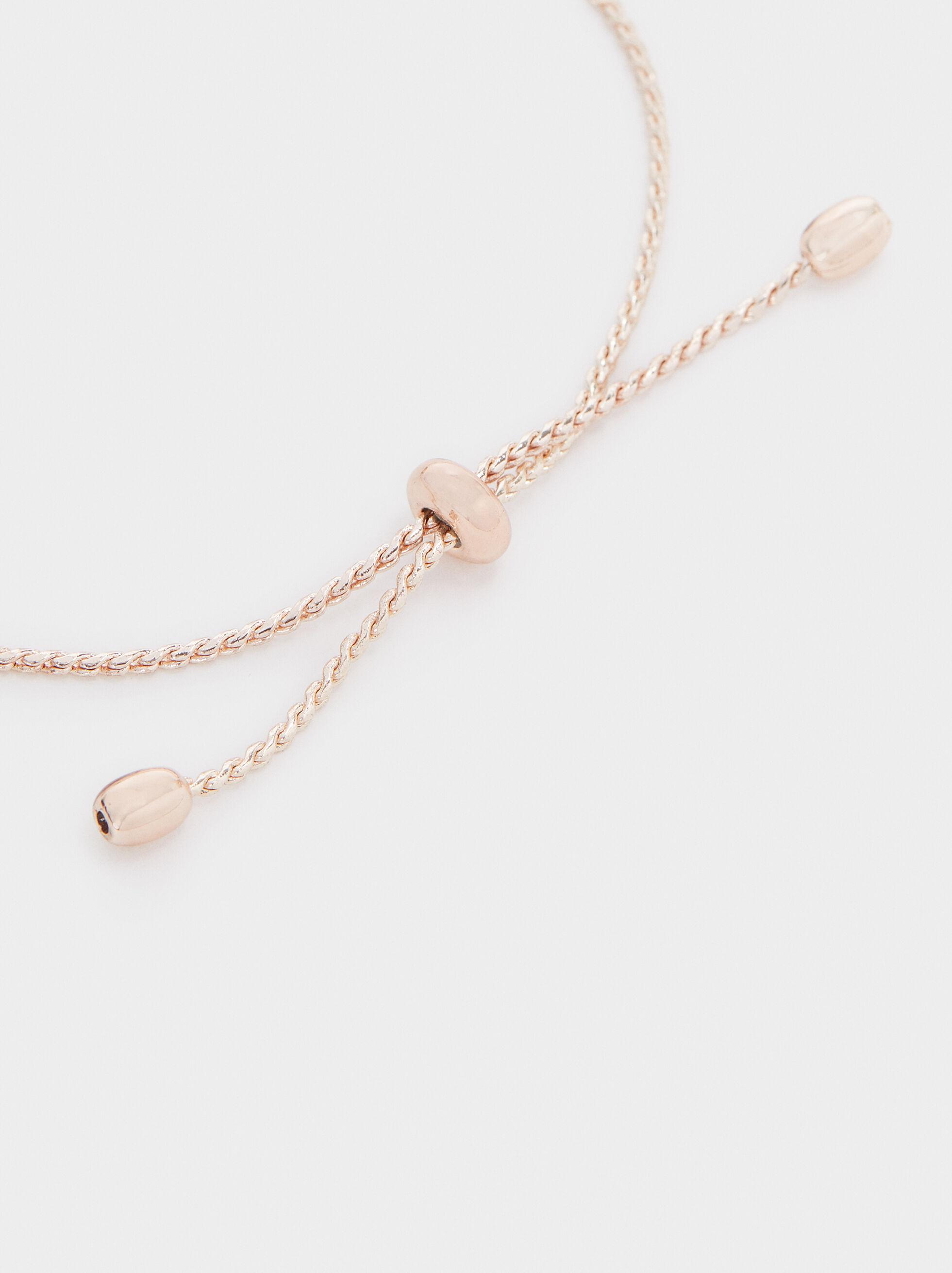 Rose Gold Adjustable Bracelet With Leaf, Multicolor, hi-res