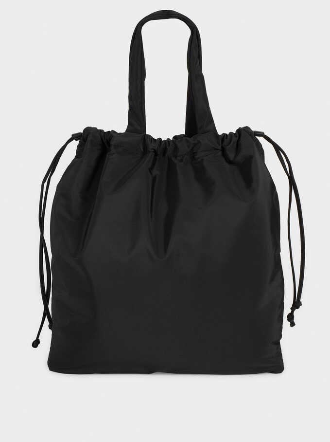 Nylon Tote Bag With Removable Pockets, Black, hi-res