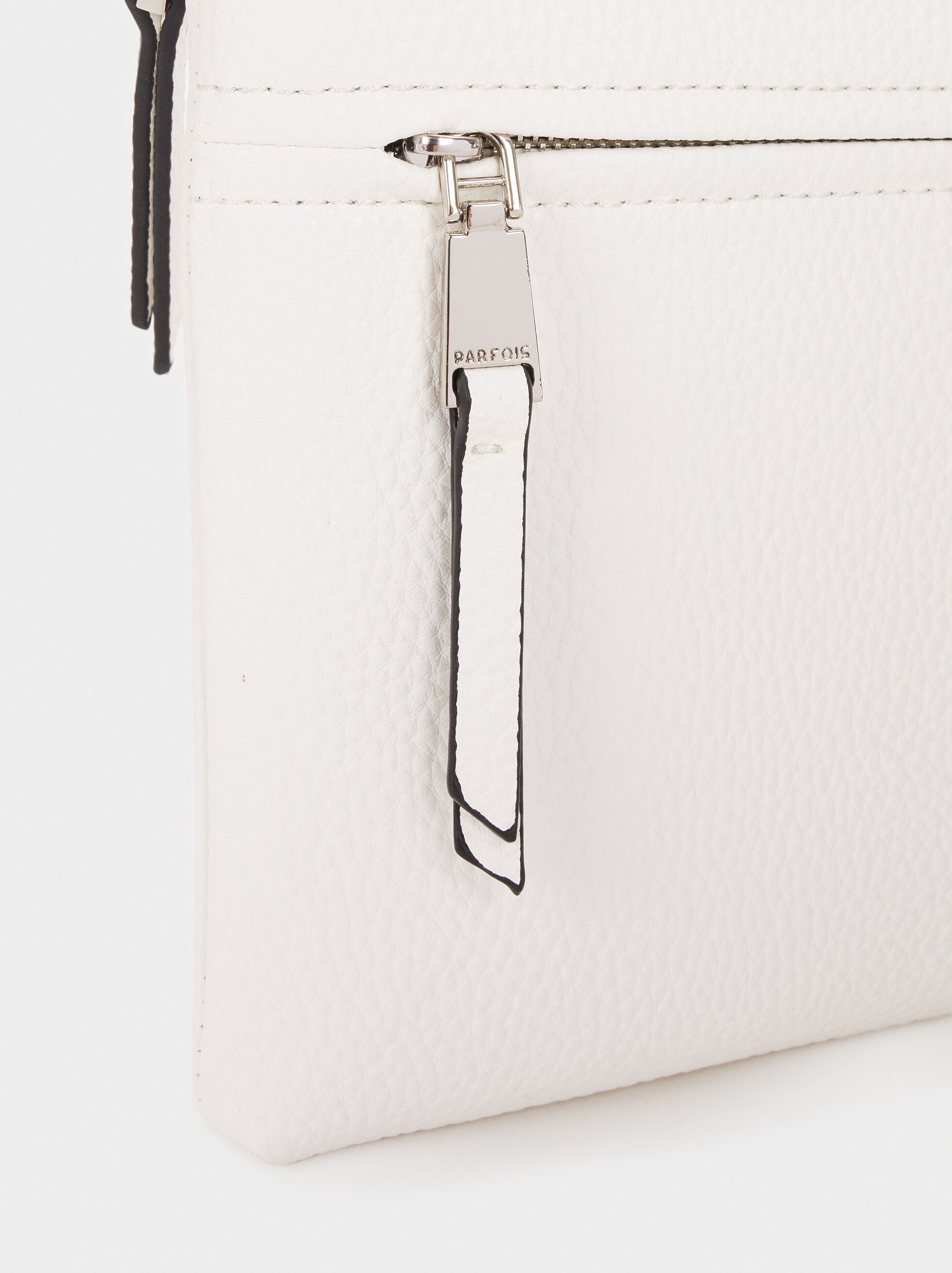 Shoulder Bag With Outer Pocket, White, hi-res