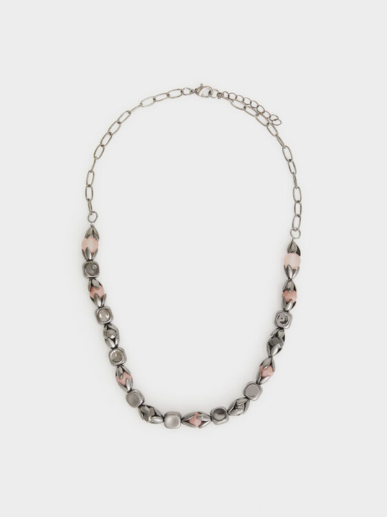 Cosmic Pink Short Necklace With Stones, Multicolor, hi-res