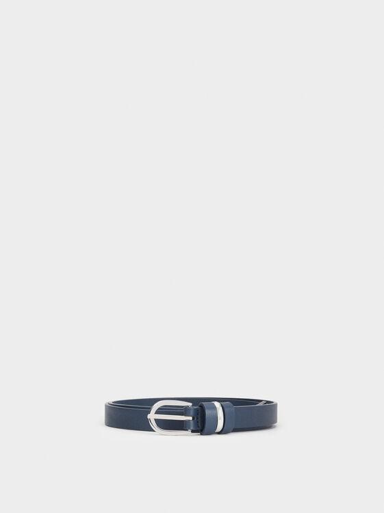 Belt With Metal Detail, Navy, hi-res