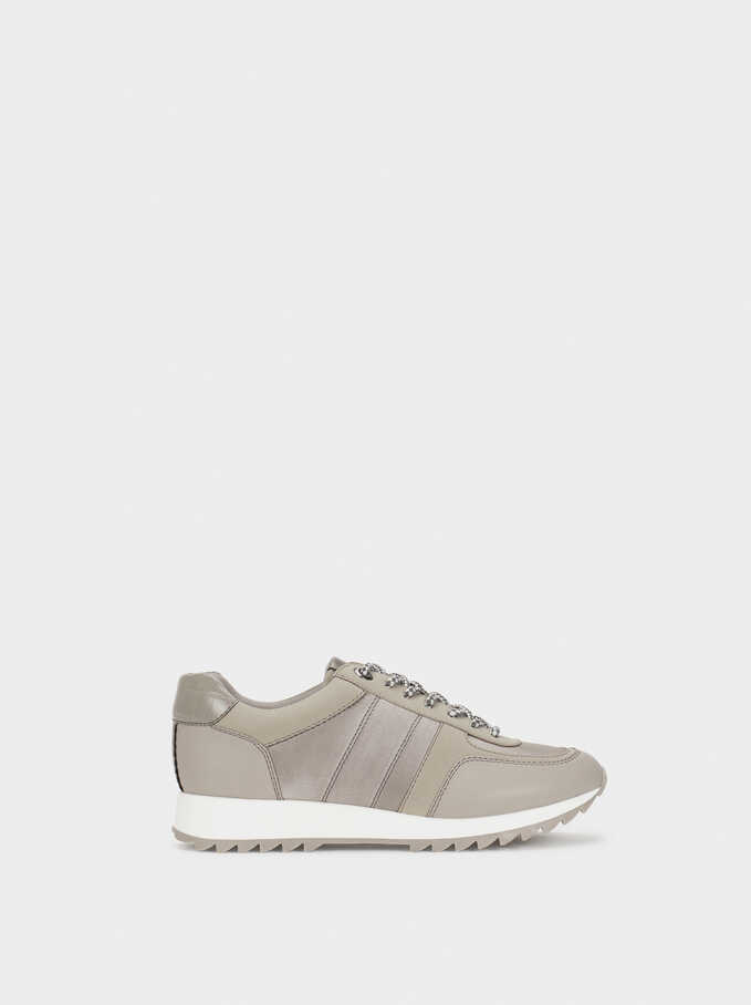 Trainers With Contrast Sole, Grey, hi-res