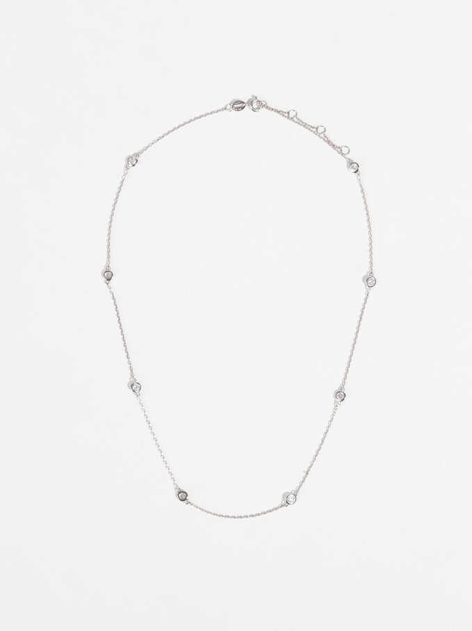 Short 925 Silver Necklace With Crystals, Silver, hi-res