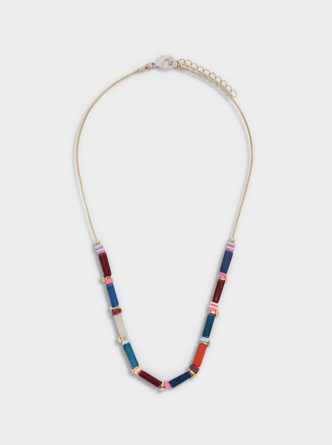 Short Necklace With Stones And Resin, Multicolor, hi-res