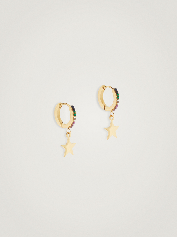 Short Stainless Steel Hoops With Stars, Multicolor, hi-res