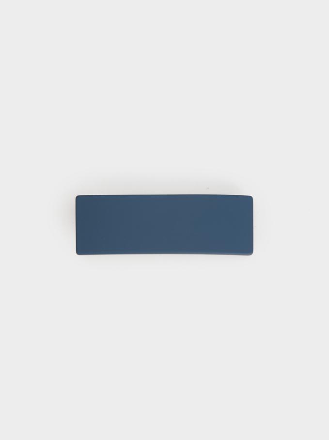 Plain Hair Clip, Blue, hi-res