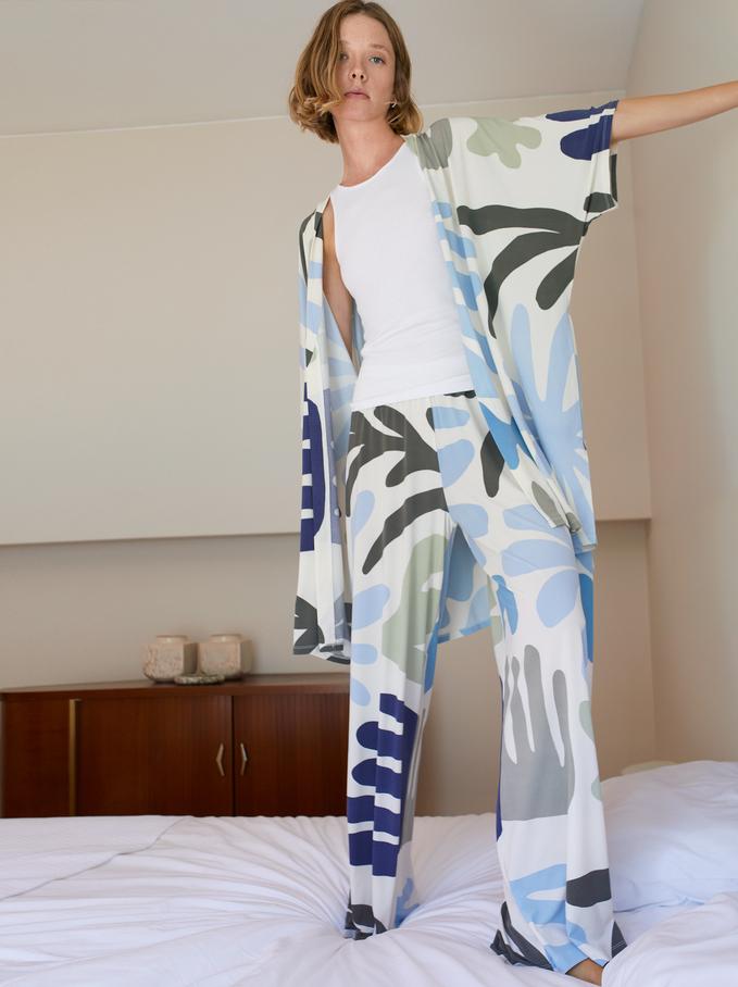 Pantalon Décontracté Imprimé, Blanc, hi-res
