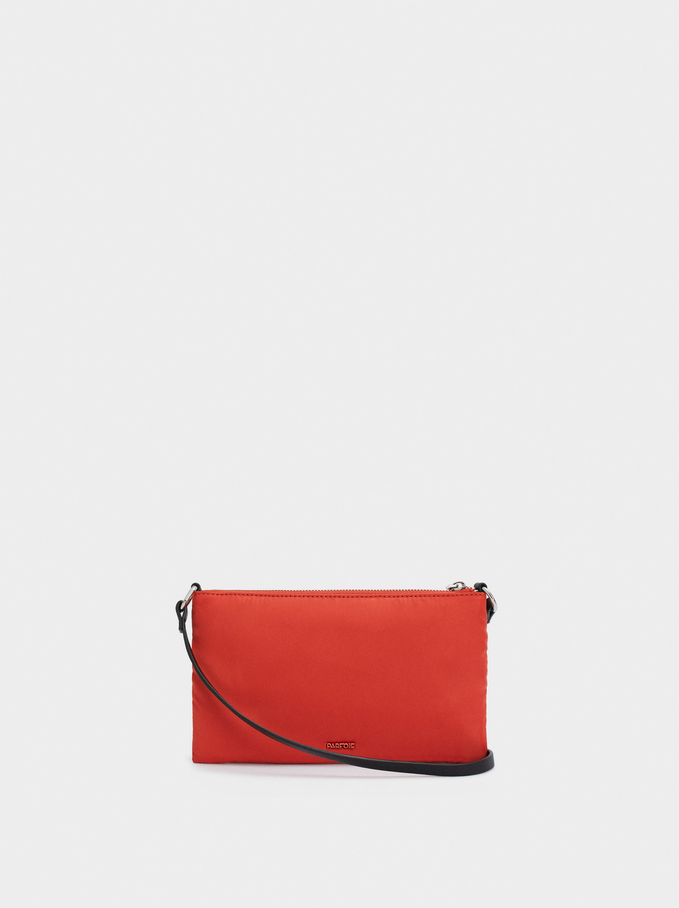 Nylon Shoulder Bag With Double Handle, Orange, hi-res