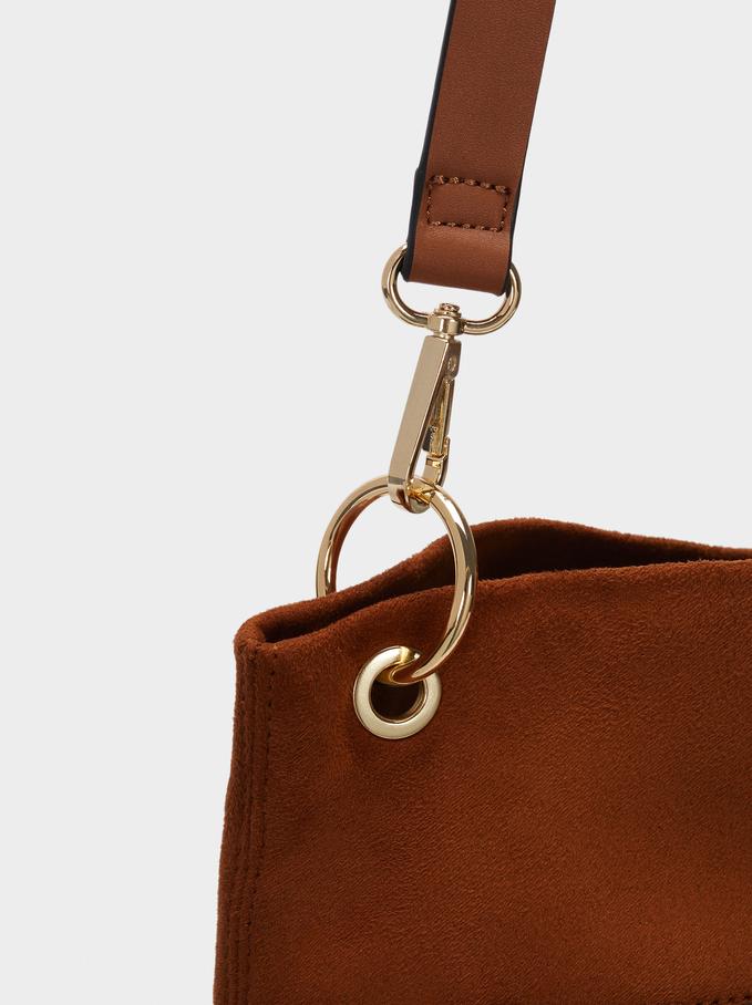 Bolso De Hombro Con Textura De Ante, Camel, hi-res