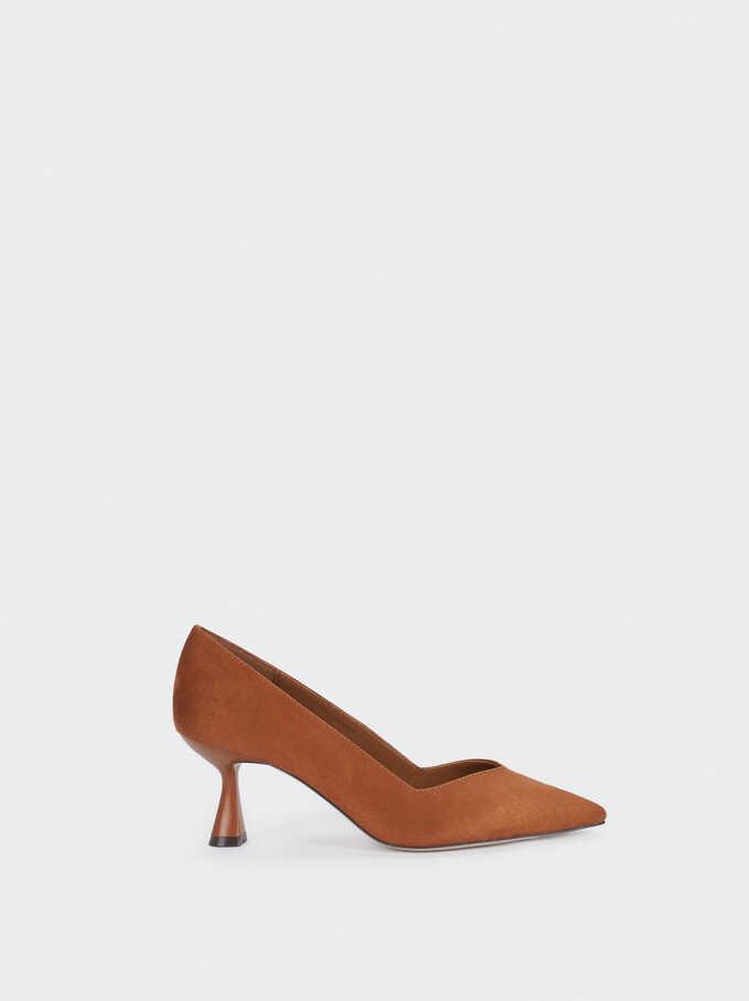 Zapatos Tacón Medio Textura Ante, Camel, hi-res
