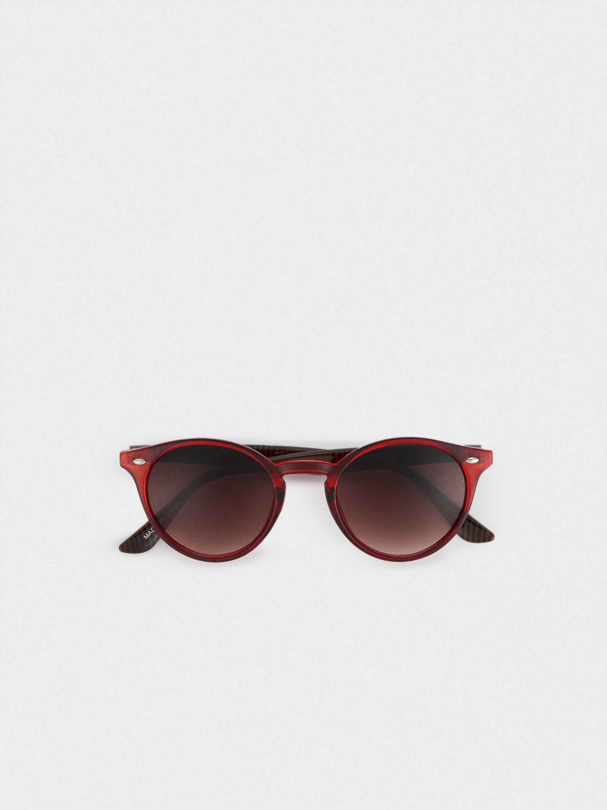 Round Resin Sunglasses, Red, hi-res