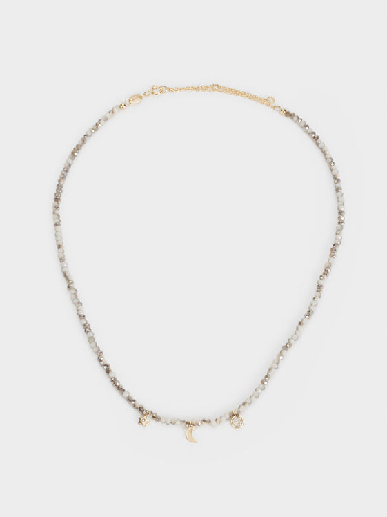 Short 925 Silver Necklace With Beading, , hi-res