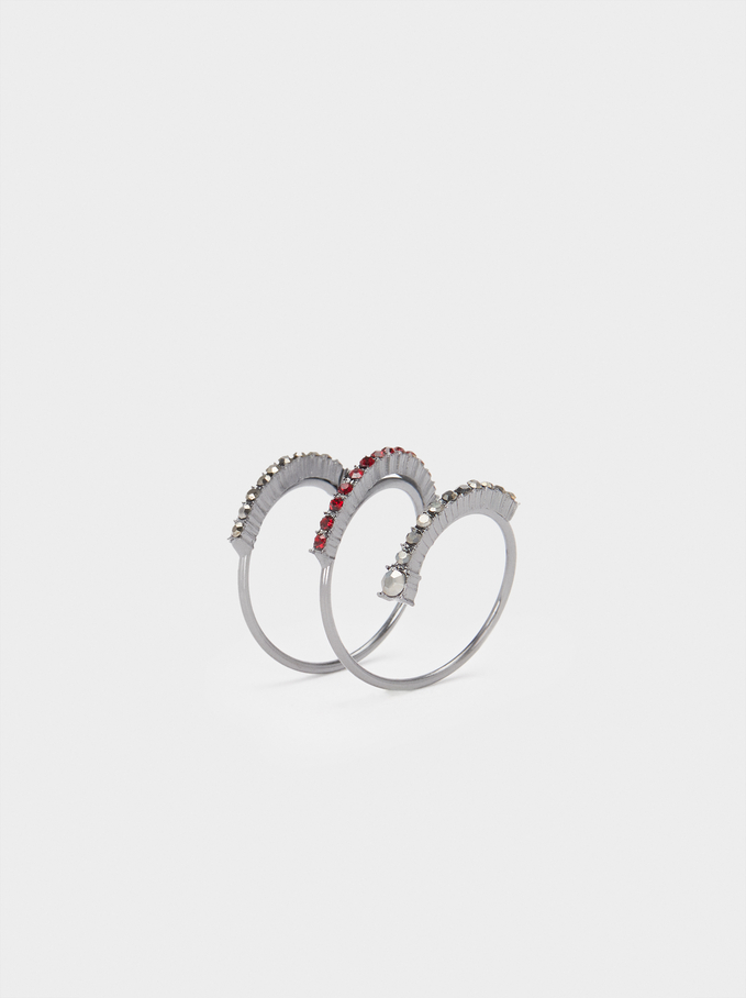 Spiral Ring With Multicoloured Crystals, , hi-res