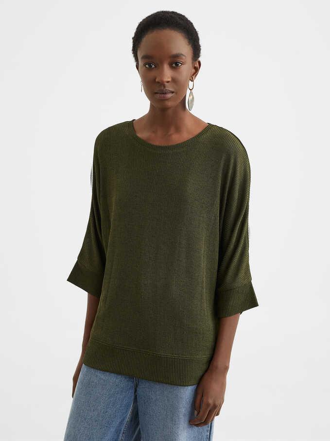 Camiseta Con Cuello Redondo, Caqui, hi-res