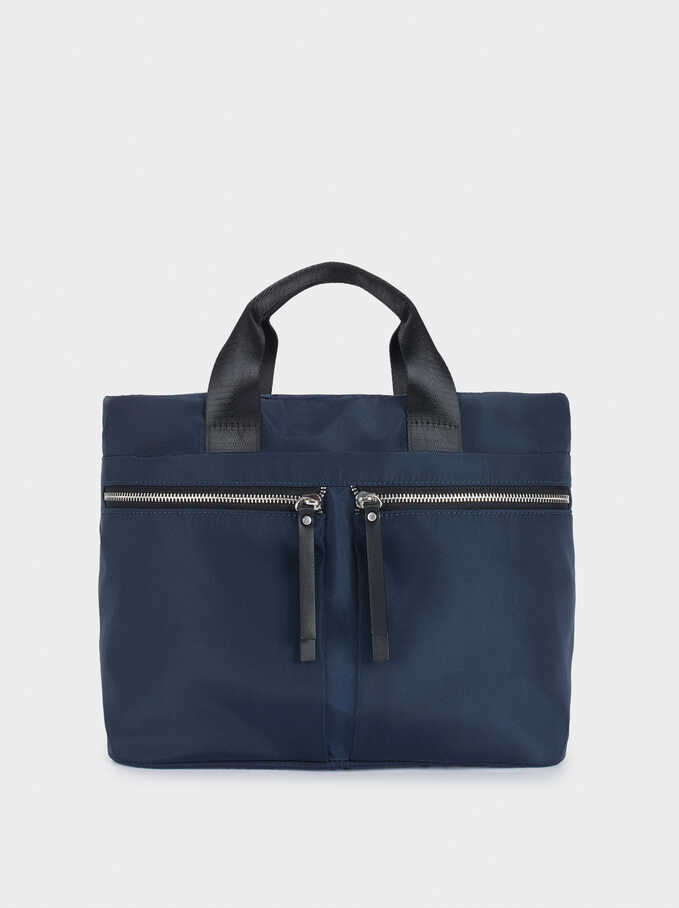 Nylon Tote Bag With Outer Pockets, Navy, hi-res
