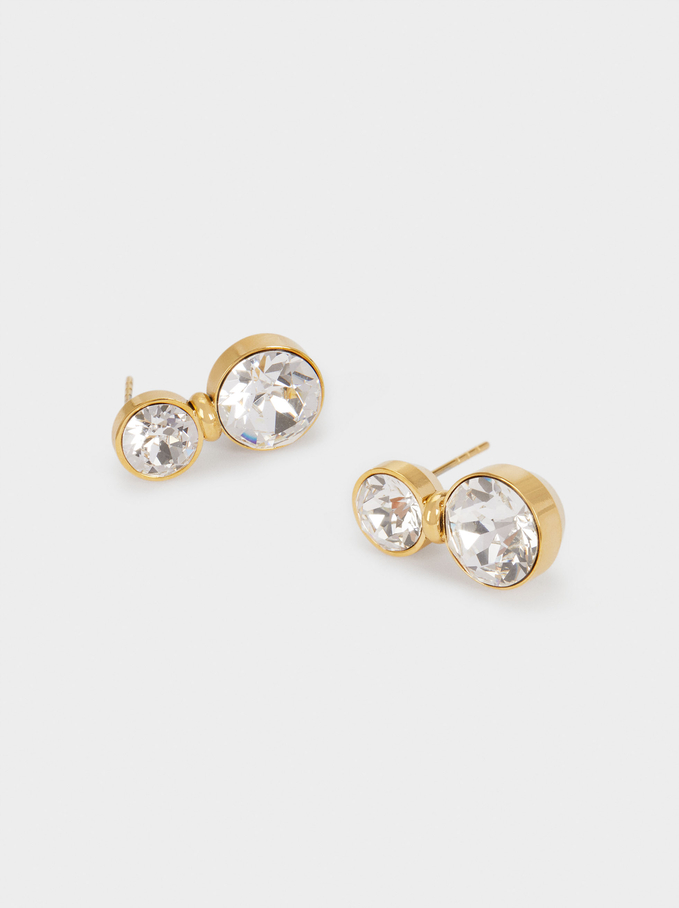 Stainless Steel Earrings With Swarovski Crystals, Golden, hi-res
