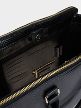 Briefcase With Embossed Animal Print, Black, hi-res