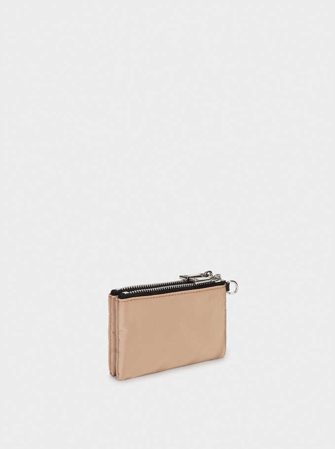 Nylon Coin Purse With Cord Detail, Camel, hi-res