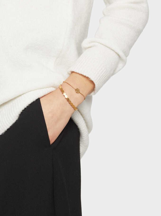 Rigid Stainless Steel Gold Bracelet, Golden, hi-res