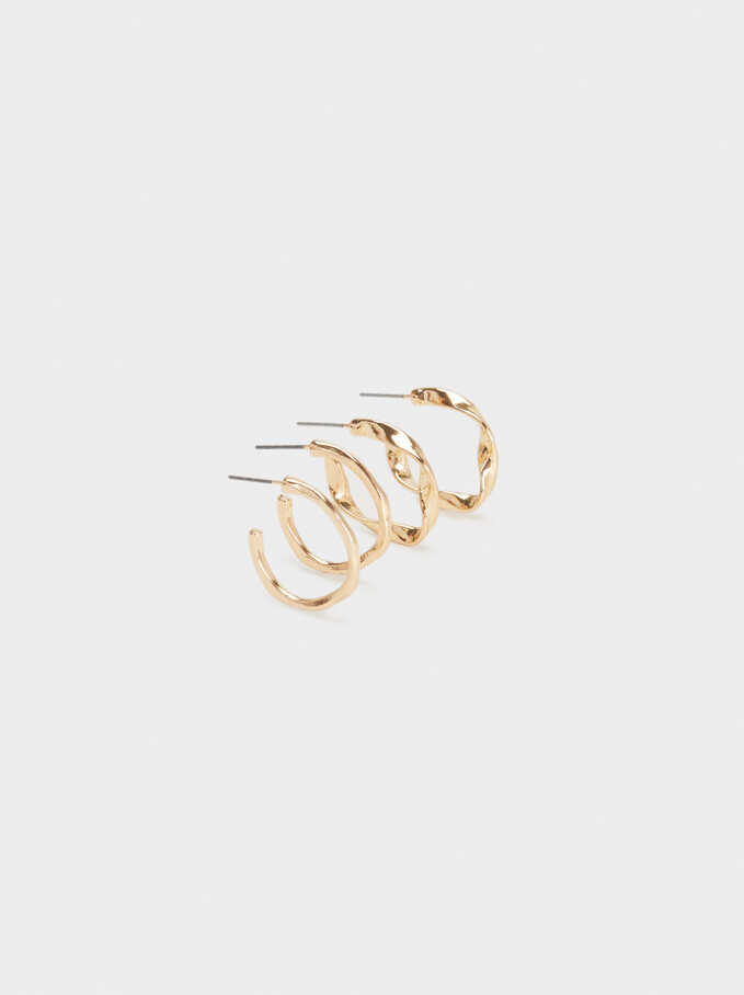 Basic Hoop Earring Set, Golden, hi-res