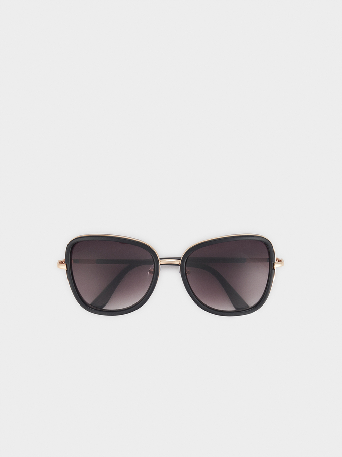 Sunglasses With Square-Cut Frames, Black, hi-res