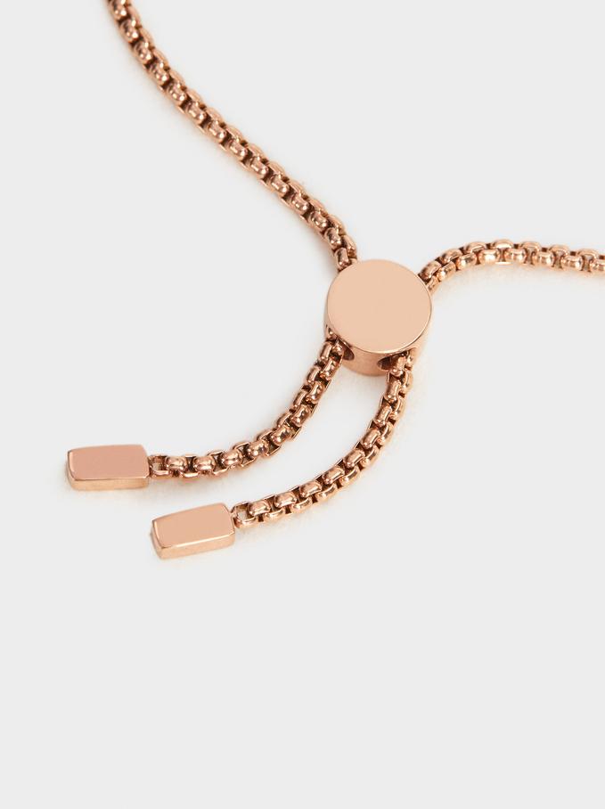 Adjustable Rose Gold Bracelet, Orange, hi-res