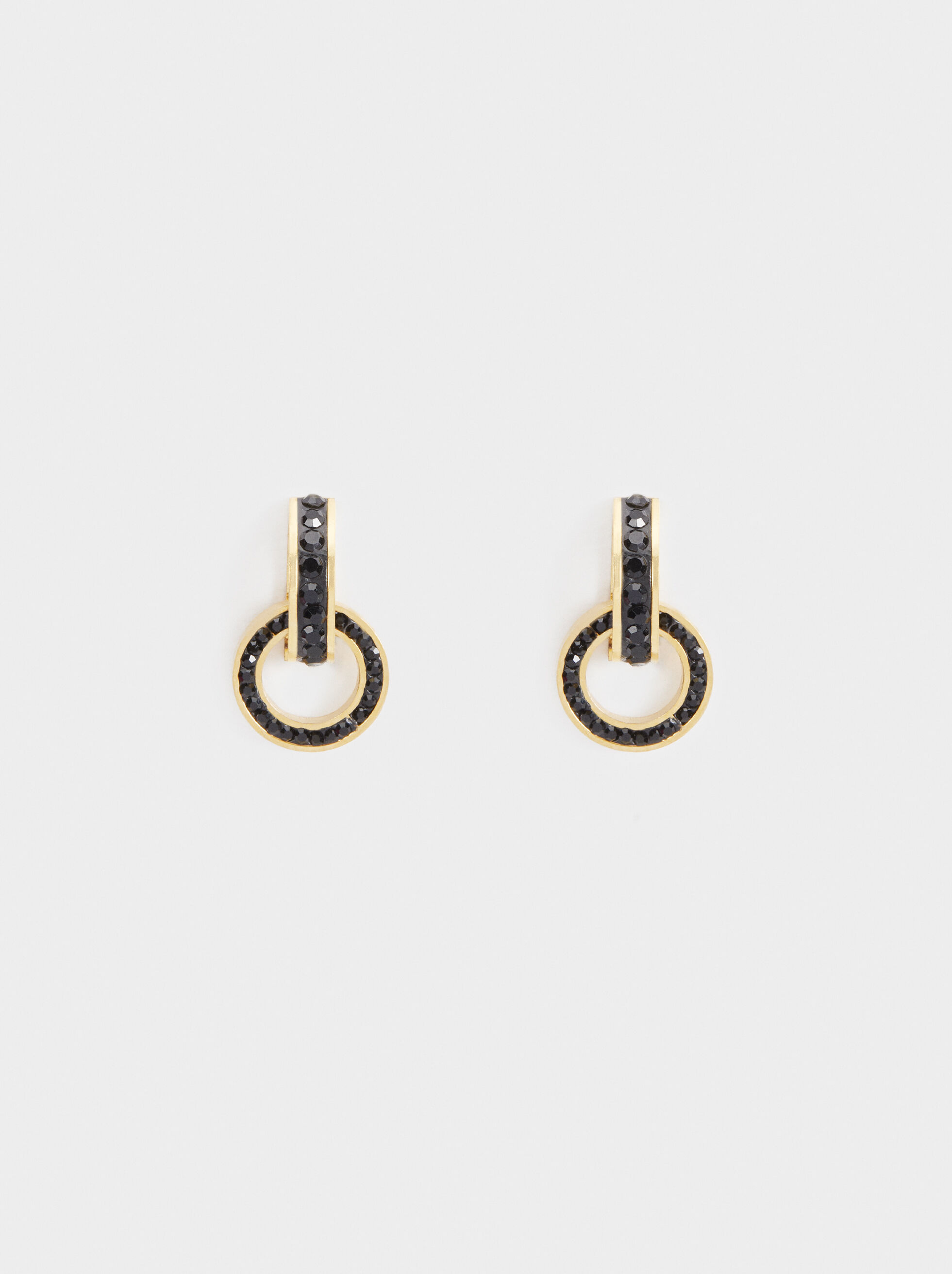 Steel Short Earrings With Rhinestones, Golden, hi-res