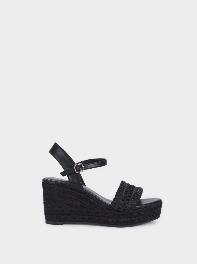 Wedges With Plaited Straps, Black, hi-res