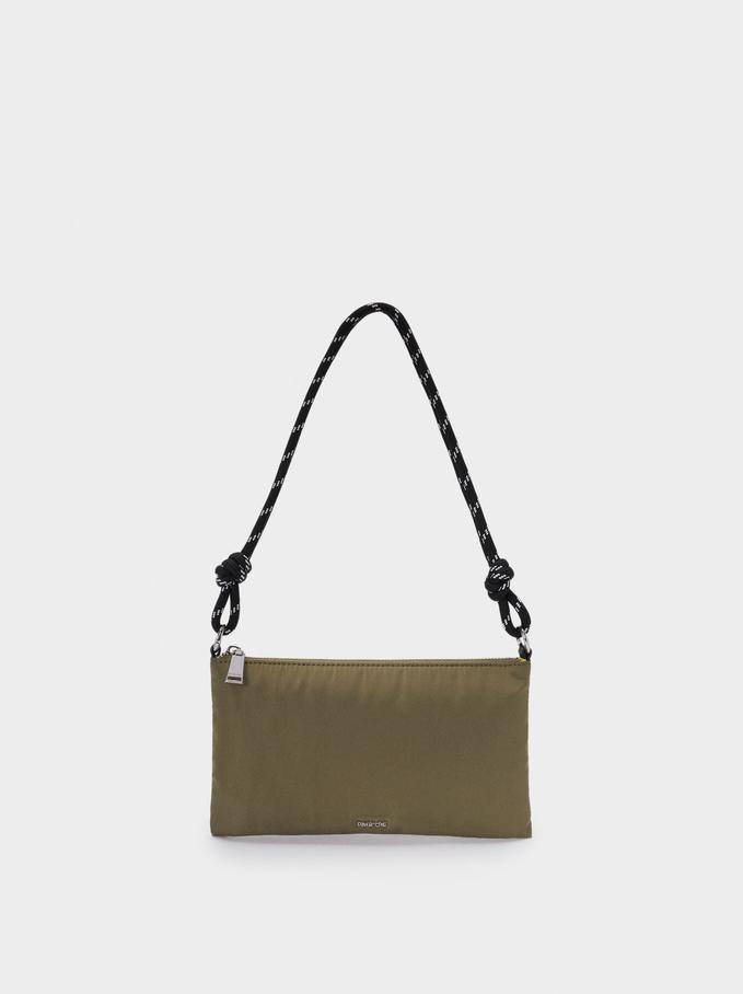 Nylon Crossbody Bag, Khaki, hi-res