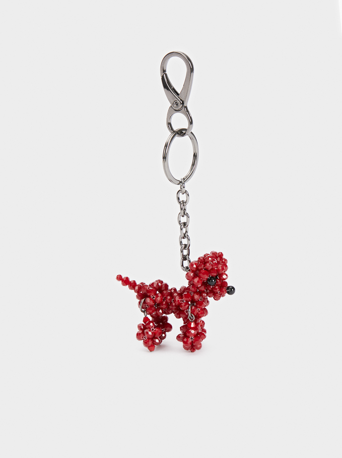 Key Chain With Beading, Bordeaux, hi-res