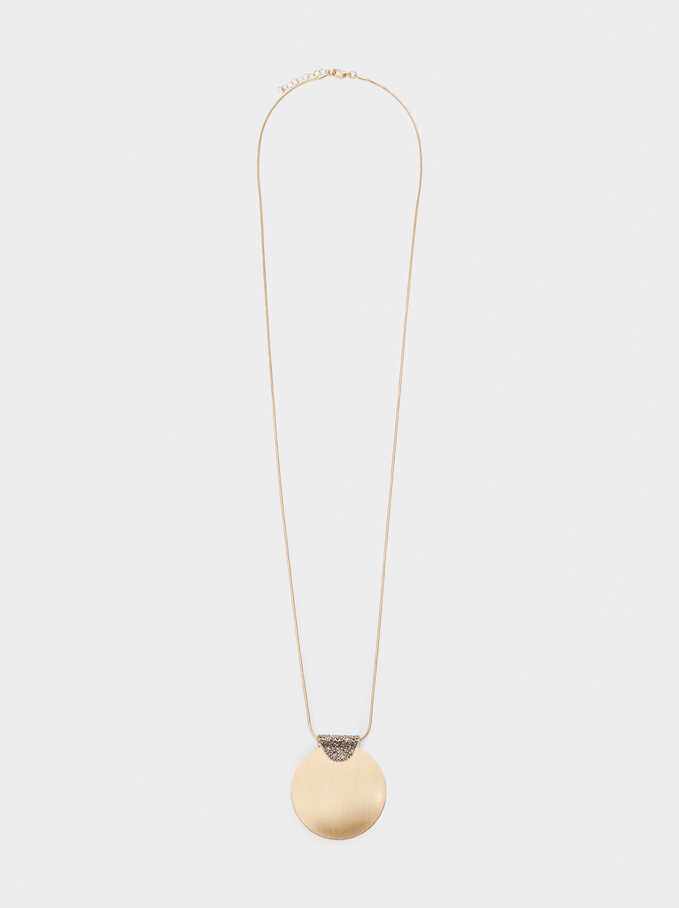 Long Necklace With Crystals And Medallion, Multicolor, hi-res