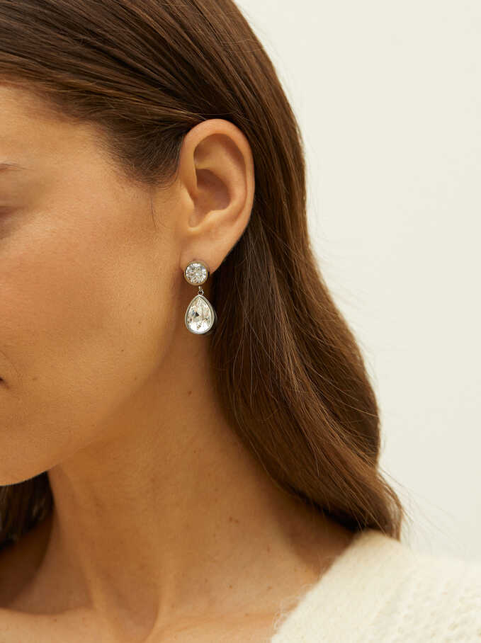Stainless Steel Earrings With Swarovski Crystals, Silver, hi-res