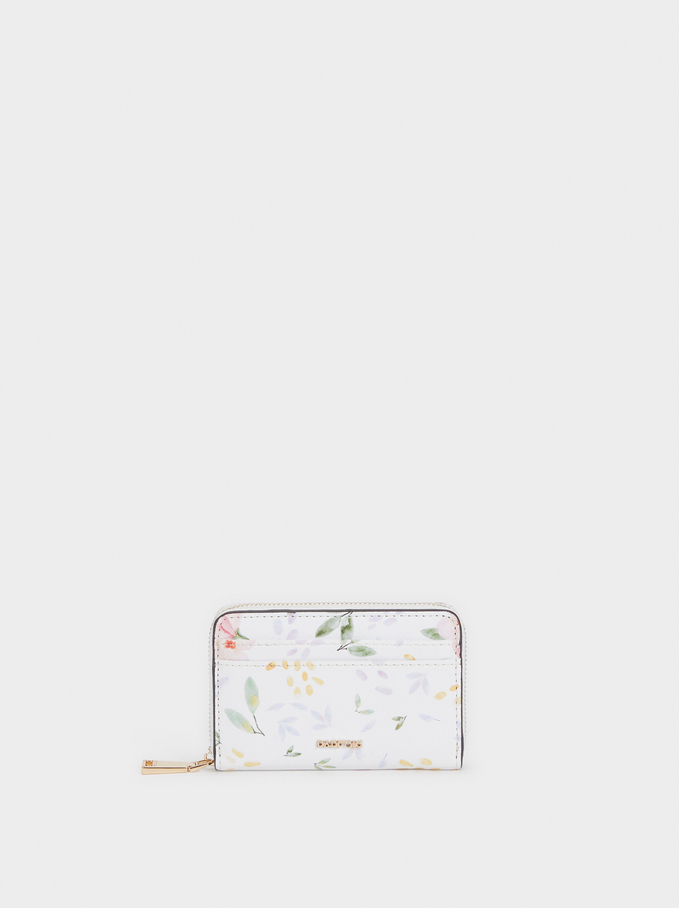 Floral Print Purse With Zip Fastening, White, hi-res