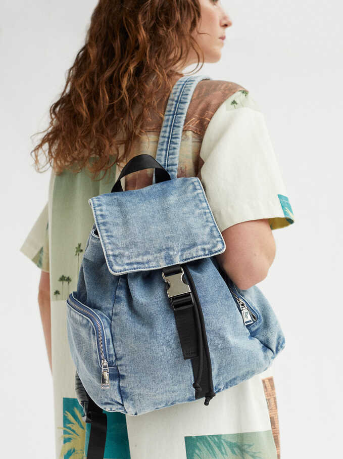 Denim Backpack, Blue, hi-res