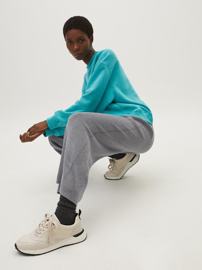 Knit Wide-Leg Trousers, Grey, hi-res