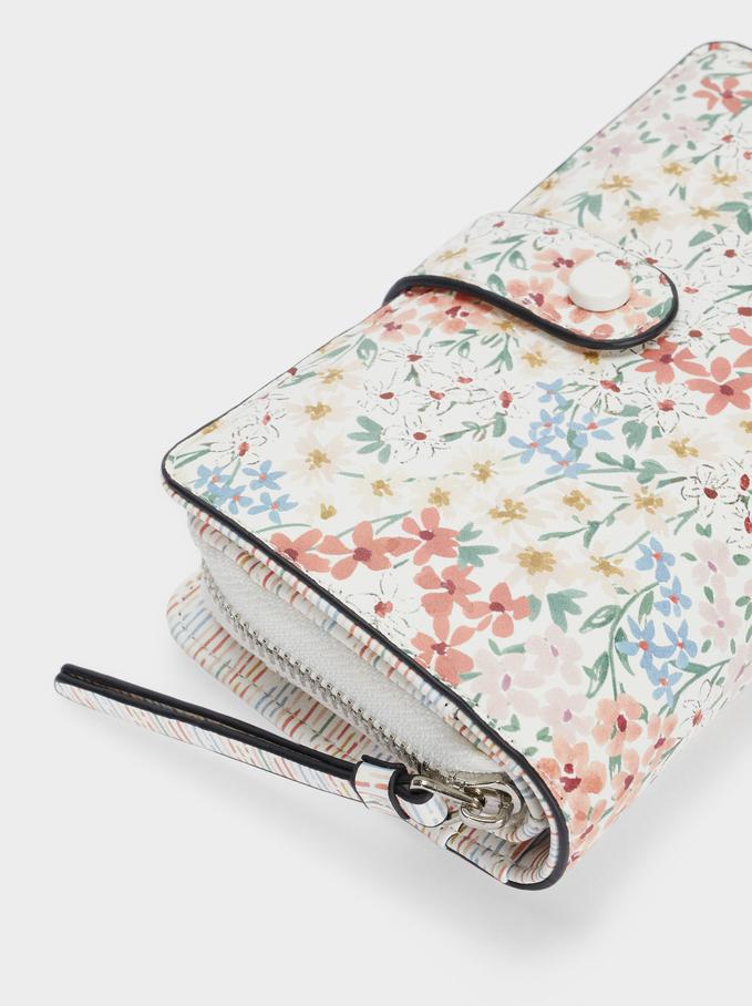 Long Floral Print Purse, White, hi-res