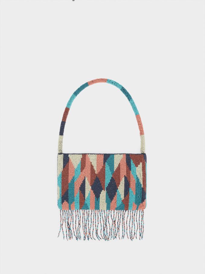 Party Handbag With Beaded Strap, Blue, hi-res