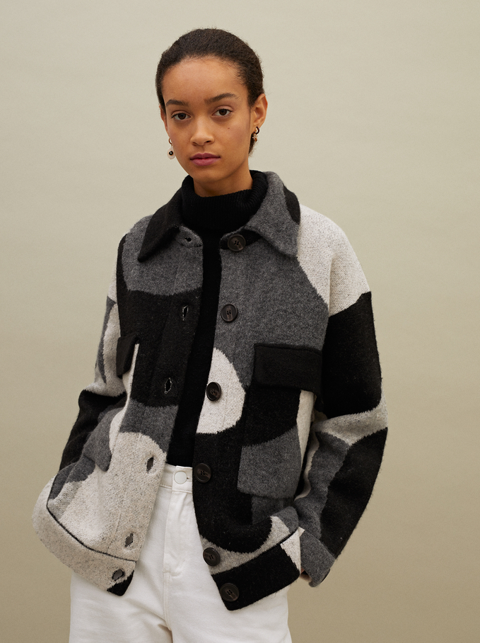 Printed Knit Cardigan With Buttons, Grey, hi-res