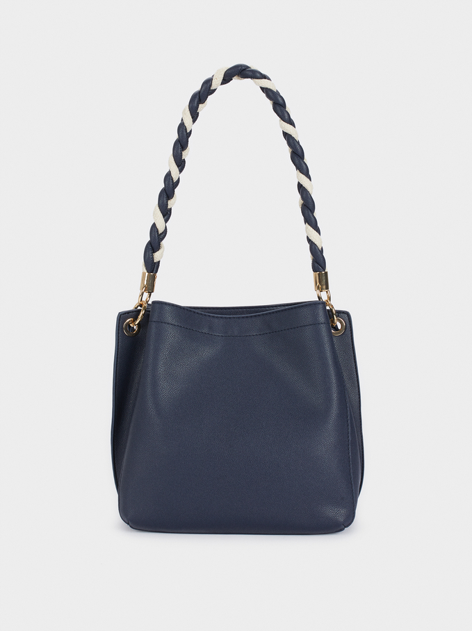 Handbag With Braided Handle, Navy, hi-res
