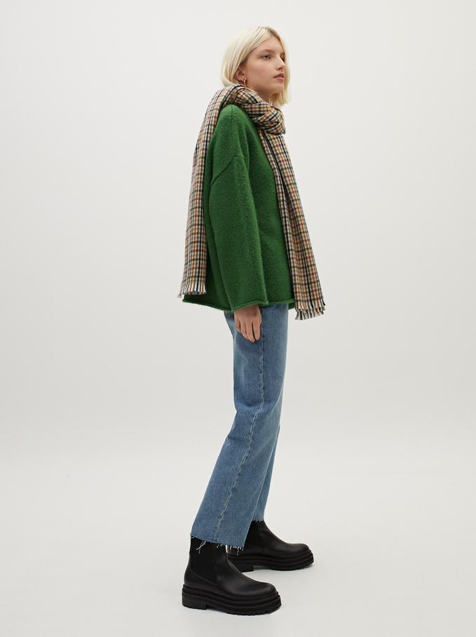 Dzianinowy Sweter Z Dekoltem W Serek, Zielony, hi-res