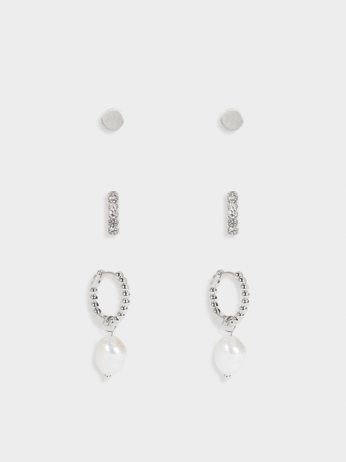 Set Of Hoop Earrings With Pearls, Silver, hi-res